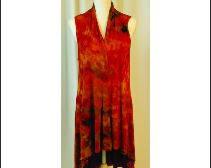 Ice Dyed Cardigan Open Front Sleeveless Adult L Waterfall  Boho , Red, Orange, Yellows and Green