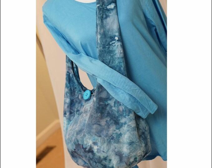 Hand Ice Dyed Sling Bag Black Grey Blue Hippie Sling Crossbody Shoulder
