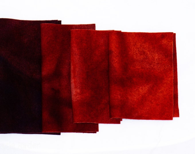 Hand Dyed Felted Wool for Quilting, Rug Hooking, Crafting, Repurposed Wool, Red, Orange Red, Dark Red
