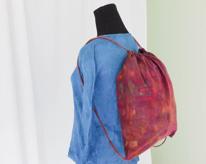 Hand Ice Dyed Shibori Drawstring Backpack Schoolbag Girls