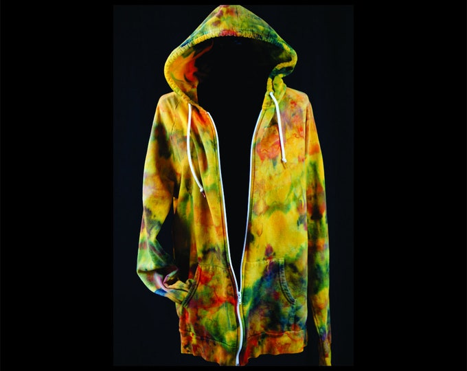 Tie Dye Fall Hoodie With Zip up Sweatshirt,  Autunm Hand Dyed Sweatshirt, Unisex Ice Dye Hoodie, Boho Yoga Hoodie , Hippie Gift Size XL