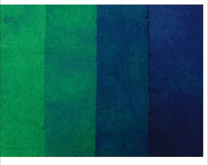 Four 1/16 ths. Hand Dyed Dark Blue, Green Blue, Blue,Wool Fabric for Rug Hooking, Quilting and Applique.
