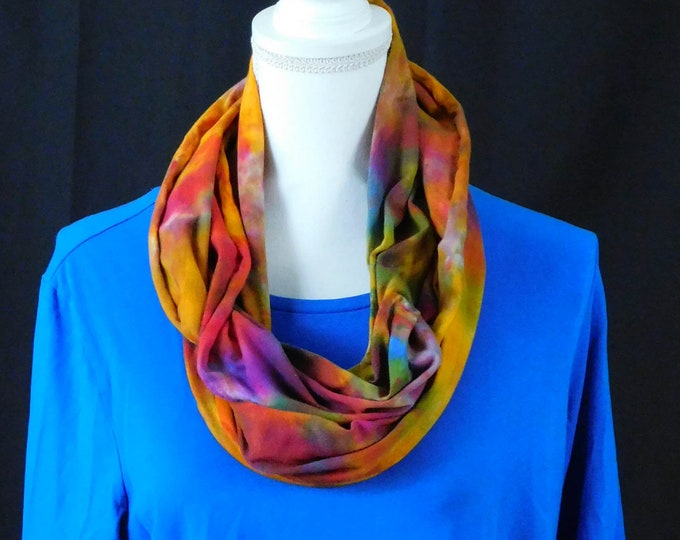 Womans Hand Dyed Bright and Colorful Eternity Scarf, Multicolored Boho Scarf,  Infinity Rainbow Scarf, Fuchsia, Red, Yellow Infinity