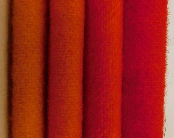 "Hand Dyed Golden Yellow, Orange to Red Wool Fabric (4) 5""- 16"" (4) Colors Hand Dyed Felted Wool for Rug Hooking, Applique and Quilting"