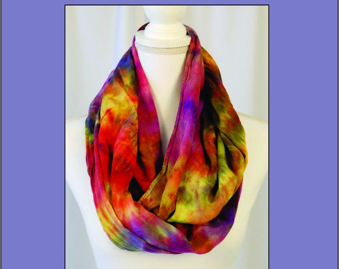 Rainbow Eternity Scarf, Purple, Yellow, Red and Pink, Infinity Scarf, Hand Dyed Circle Scarf, Gift,Soft Multi-Color Scarf, Cowl Gift for Her