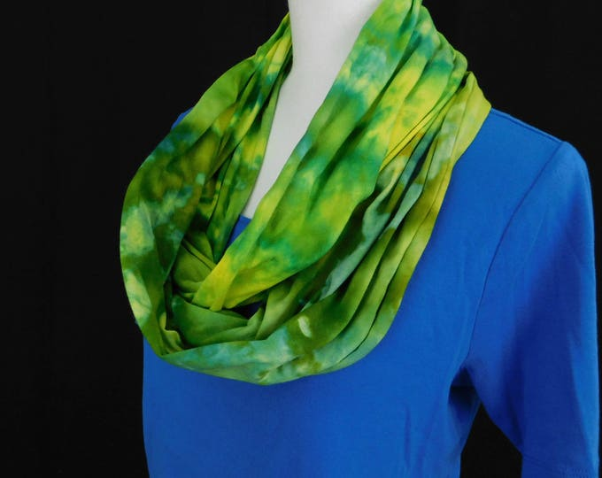 Ladies Shades of Green and Yellow Eternity Scarf, Womans Hand Dyed Infinity Scarf,  Ladies Jersey Cotton Boho Circle Scarf, Gift for Her