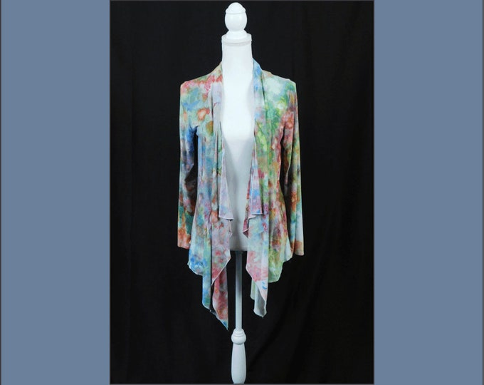 Long Sleeve Cardigan, Women's Drape Front Open Cardigan, Boho Hand Dyed Jacket,  Hand Dyed Bohemian Ladies Jacket, Hippie Jacket