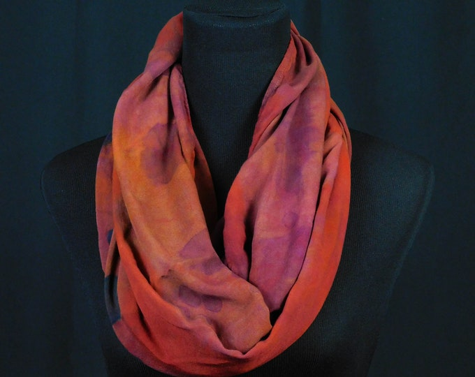 Woman's Dark Red Black Burgandy Eternity Scarf, Hand Dyed Very Soft Rayon Scarf, Purple Eternity Scarf, Dark Red Infinity Scarf, Soft Grunge
