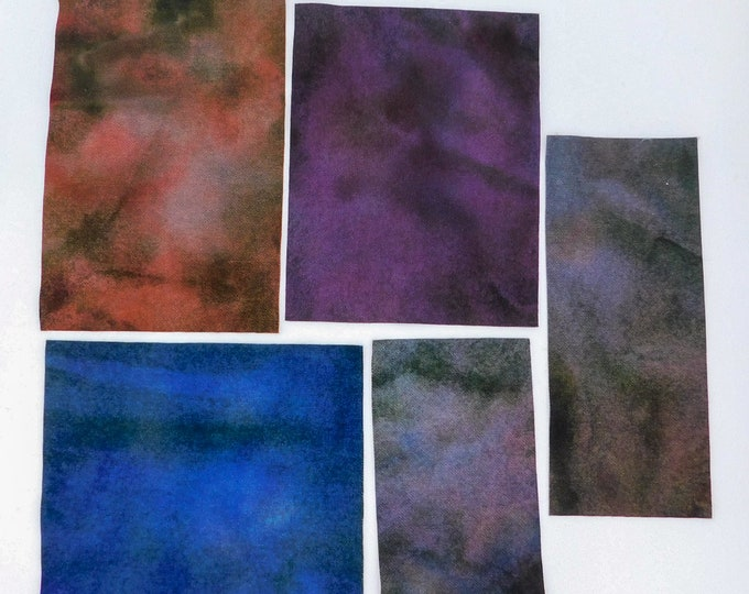 Hand Dyed Felted Wool Fabric with Deep Colors of Blue, Red, Purple for Quilting, Rug Hooking, Crafting,