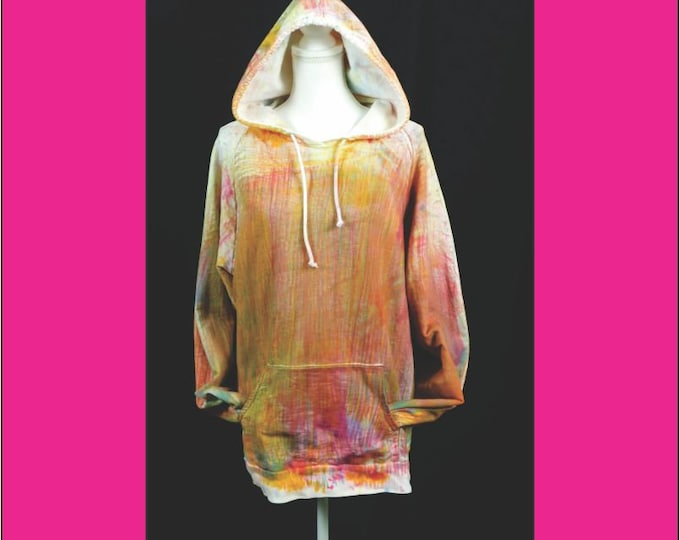 Hand Ice Dyed Unisex Hoodie 2X, Plus Size Pullover Boho Yellow Red Yoga Exercise