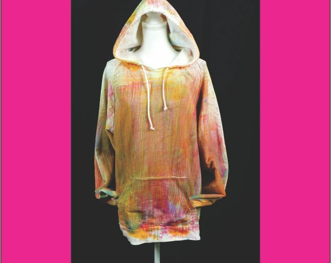 Unisex Hoodie Size 2X, Ice Dyed Plus Size Pullover Hoodie, Boho Yellow Red Hoodie, Yoga Hoodie, Hand Dyed Exercise Hoodie