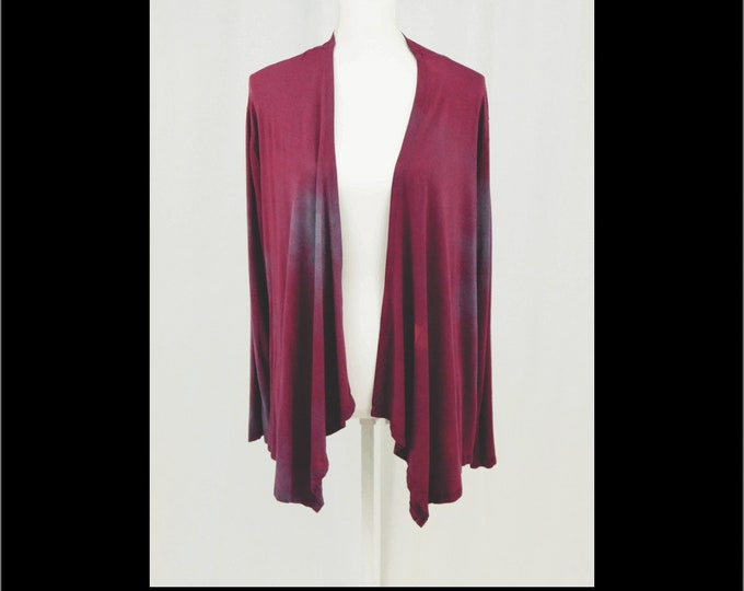 Hand Dyed Cardigan Jacket Maroon Blue Jacket XL Boho Waterfall Drape Plus  Long Sleeve