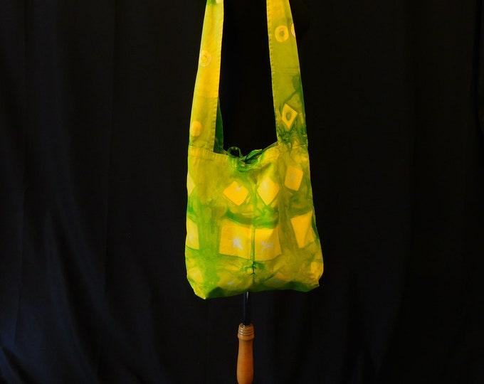 Yellow Spring Cross Body Bag, Green Shibori Shoulder Bag, All Cotton Hand Dyed Sling Bag, Teghimi Shibori  Bag, Tie Dye Festival Bag