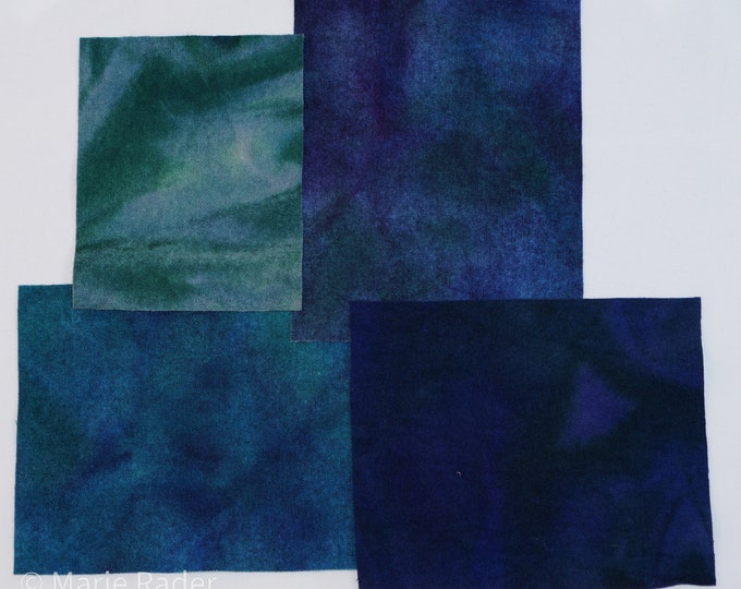 Hand Dyed Felted Wool Fabric with Deep Blue, Teal and Green for Quilting, Rug Hooking and Crafting