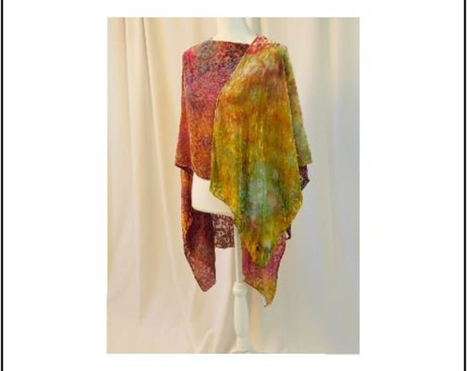 Hand Ice Dyed Silk Cut Velvet Scarf in Rich Flowing Colors of Maroon, Golden Yellow, and Green
