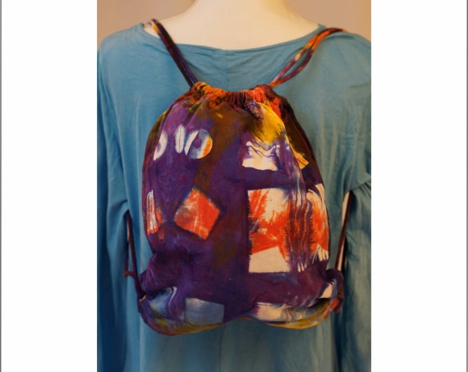 Hand Dyed Shibori Backpack Drawstring Purple Yellow Blue Boho
