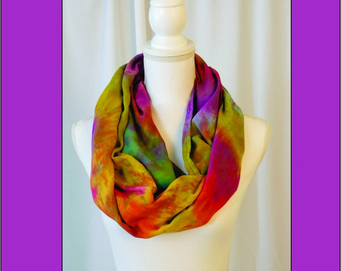 Rainbow Eternity Scarf, Purple, Yellow, Red, Blue, Orange and Pink, Hand Painted Infinity Scarf,Soft Multi-Color Scarf, Cowl Gift for Her