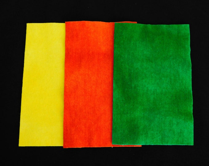 """Hand Dyed Yellow Felted Wool Fabric,  Red and Green Wool Fabric Four (3) Pieces 8""""x5"""" for RugHooking Quilting, Applique, Sewing, Penny Rugs"""