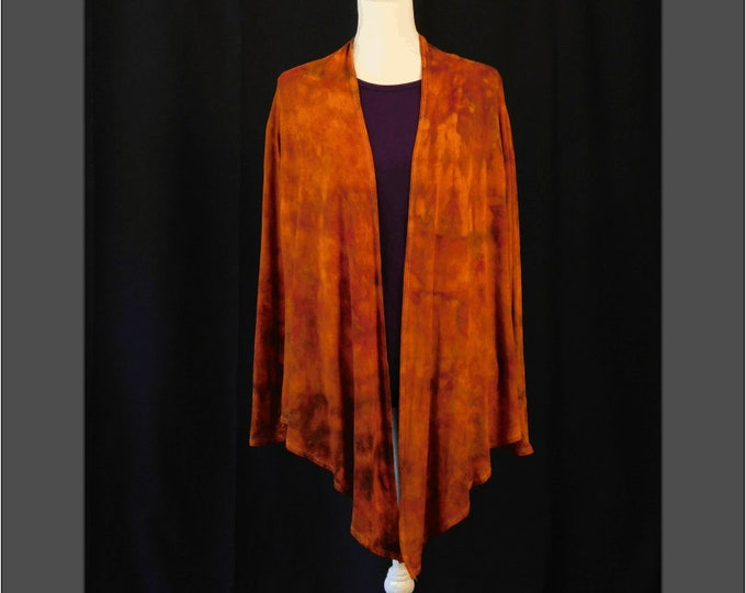 Womans Hand Dyed Orange-Brown Waterfall Cardigsn Size XL, Fall Long Sleeve Knit Cardigan, Boho Ice Dye Jacket