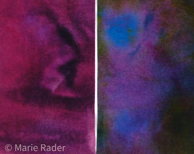 Hand Dyed Felted Wool Fabric with Bold, Vibrant Colors of Violet and Blue for Quilting, Rug Hooking, Crafting,