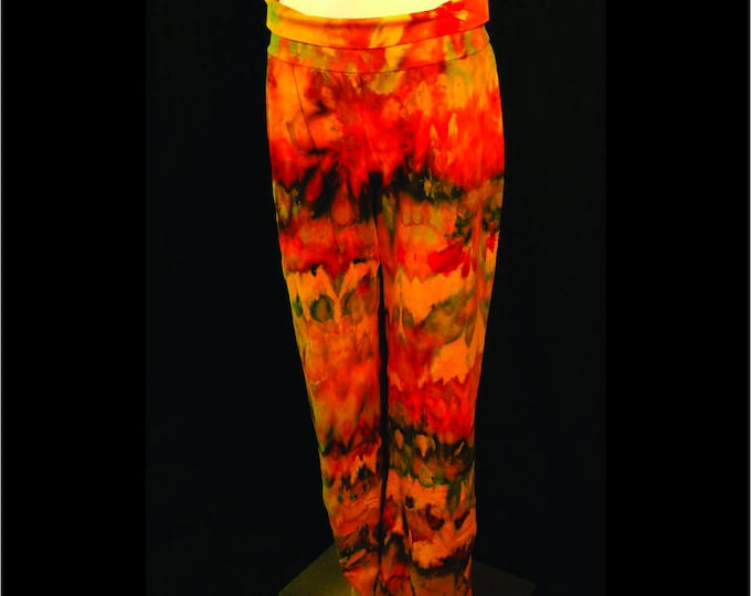 Hand Ice Dyed Yoga Pants Plus XL Yellow Red Orange