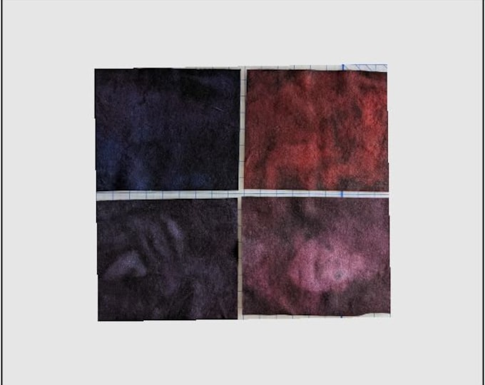 Hand Dyed Felted Wool Fabric with Dark Blue, Dark Purple, Deep Maroon and Dark Red, Colors  for Quilting, Rug Hooking, Crafting