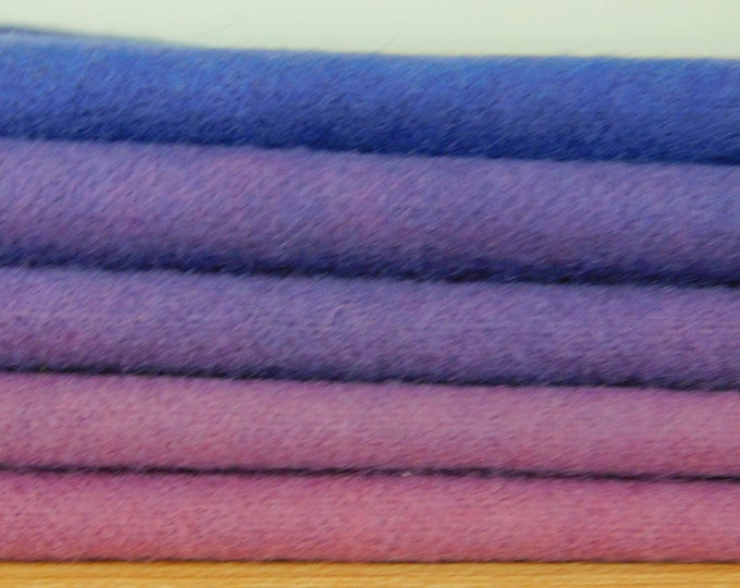 Purple and Blue Hand Dyed Wool, (5) Fat Sixteenths, Purple Felted Wool for Applique, Rughooking, Quilting and Penney Rugs