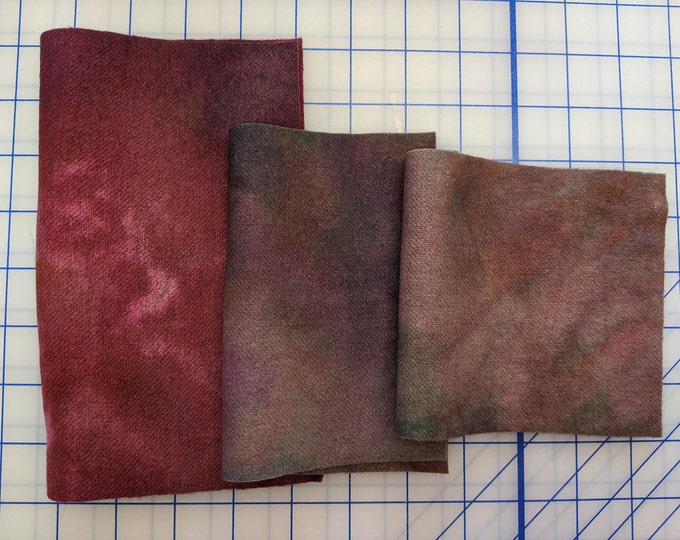 Hand Dyed Felted Wool for Quilting, Rug Hooking, Crafting, Transitional Pieces of Magenta, Greens and Cream,  One of a Kind, Repurposed Wool