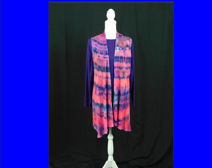 Hand Ice Dyed Painted Boho Long Pink Vest Fall Boho Sleeveless Cardigan