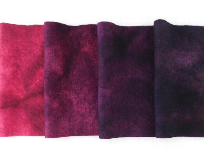 "Four pieces Dyed Dark Pink and Purple Quilting Wool, Size 5""x10"" Hand Dyed Felted Wool, Rug Hooking Wool, Applique Wool, Magenta Felted Wool"