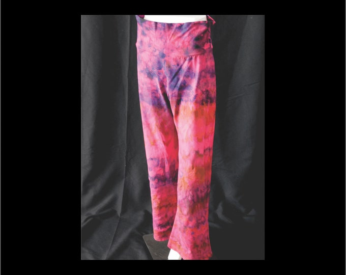 Ice Dye, Womans Size Large Yoga Pants, Pink Tie Dye Active Pants, All Cotton Exercise Pants , Hippie Gift Gift for Her ,Boho Exercise Pants