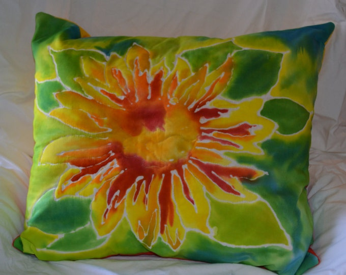 Painted Sunflower Pillow - Sunflower Painted Pillow  - Batik Sunflower Pillow - Sunflower Pillow - Sunflower Home Decor - ArtPillow -