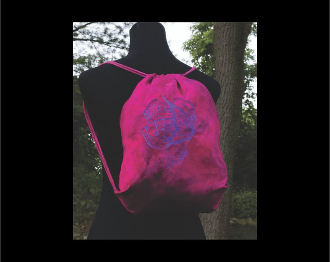 Drawstring Backpack - Embroidered Backpack - Butterfly Backpack - Music Art -  Teen Girl Backpack - School Backpack - Fuschia Backpack