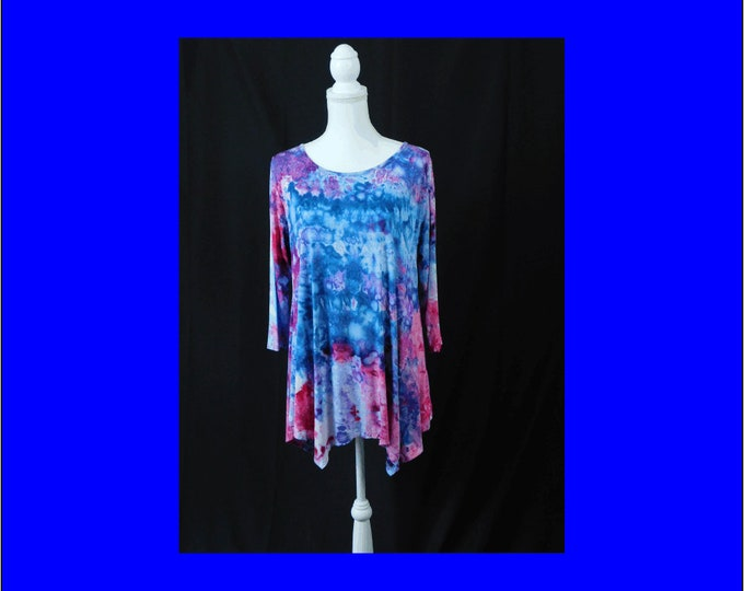 Women 3/4 Sleeve Swing Tunic Tops Plus Size 1X - Womens Ice Dye Tunic - Beach Tunic - Hand Dyed Tunic, Boho Tunic - Womens Tunic Top
