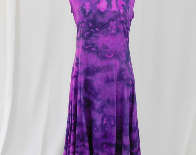 Hand Dyed Purple Sundress L 1920 Shift Sleeveless Hippie Boho Chic
