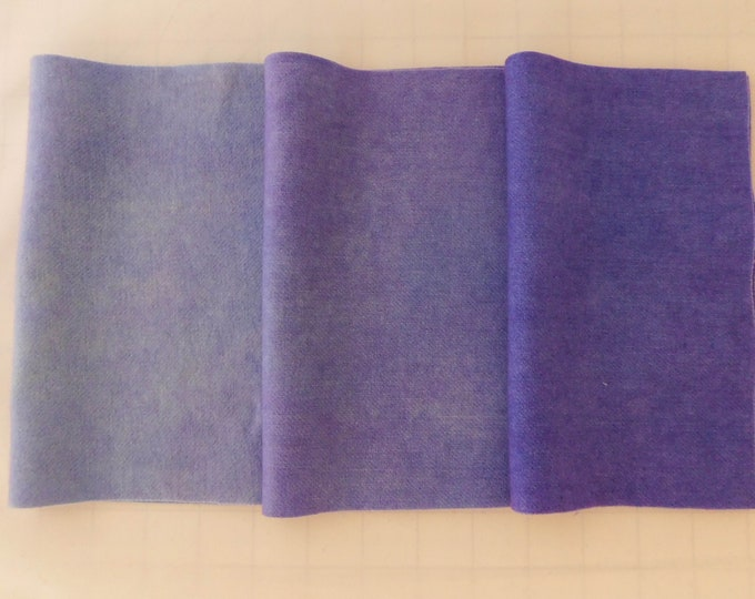 Hand Dyed Lavender Wool Fabric, Felted Purple Wool Fabric, Light Blue Applique Wool, Felted Wool, Rug Hooking Wool,  Wool Applique Quilt