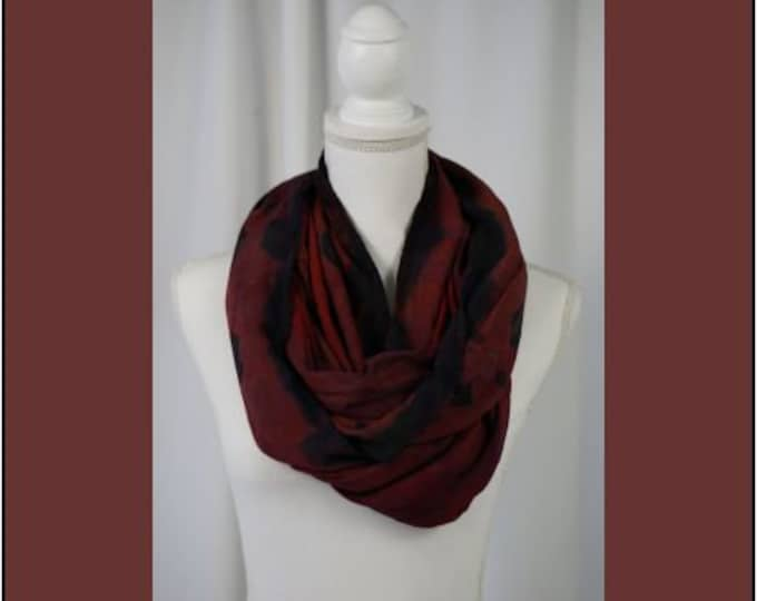 Hand Dyed and Painted Eternity Scarf in colors of Reds, Orange , Browns and Black