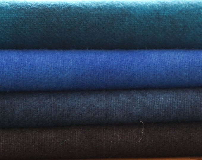 """Felted Blue to Black Wool Fabrics (4) 16""""x5"""", Hand Dyed Wool for Rug Hooking , Quilting, Penney Rugs and Applique"""