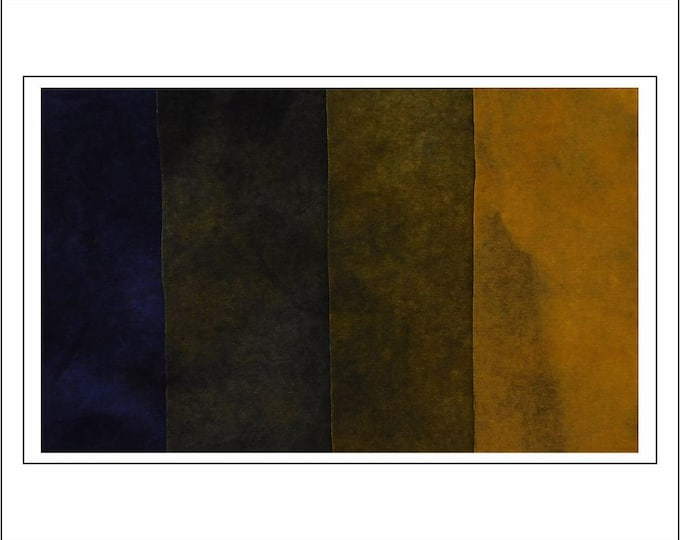 """Hand Dyed Felted Gold Yellow-Navy Wool Fabric (4) 8"""" X 10"""" (fat sixteenths) Navy, Navy Dark Gold, Navy Gold and Gold,  Quilting, RugHooking"""