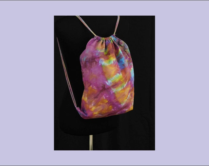 Hand Dyed Shibori Drawstring Backpack Bag Pink Blue Yellow Yoga School Beach