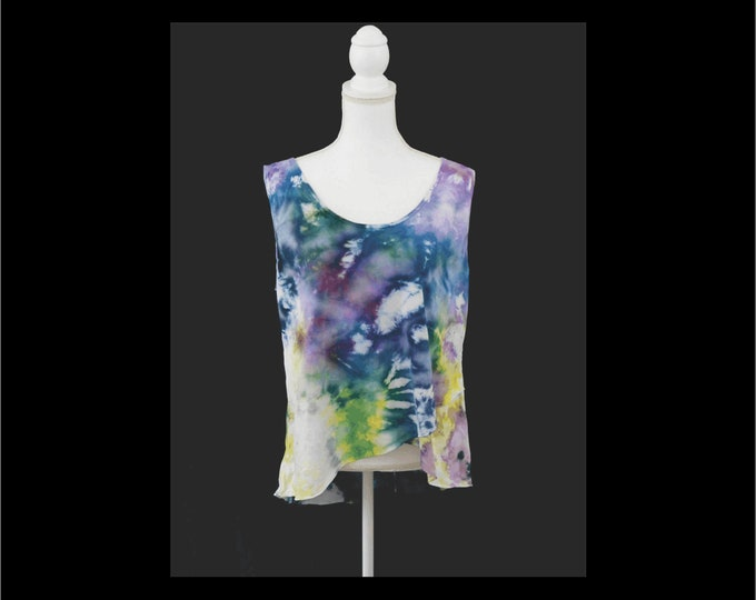 Hand Dyed Women's Tulip Top, High Low Summer Top, Boho Sleeveless Top,  Tiered Top  Tie Dye Cool Cotton Knit Pullover Teen Art Top Size XL