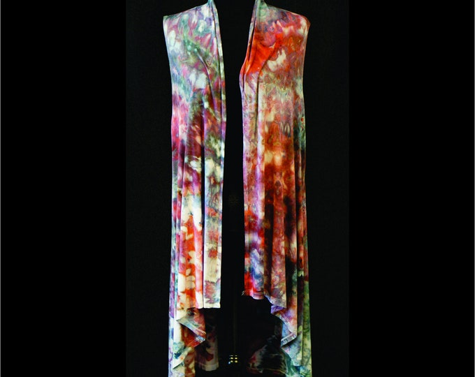 Ice Dyed , Tie Dyed Sleeveless  Cardigan, Size  L, Fall Colors of Red, Maroon and Blue