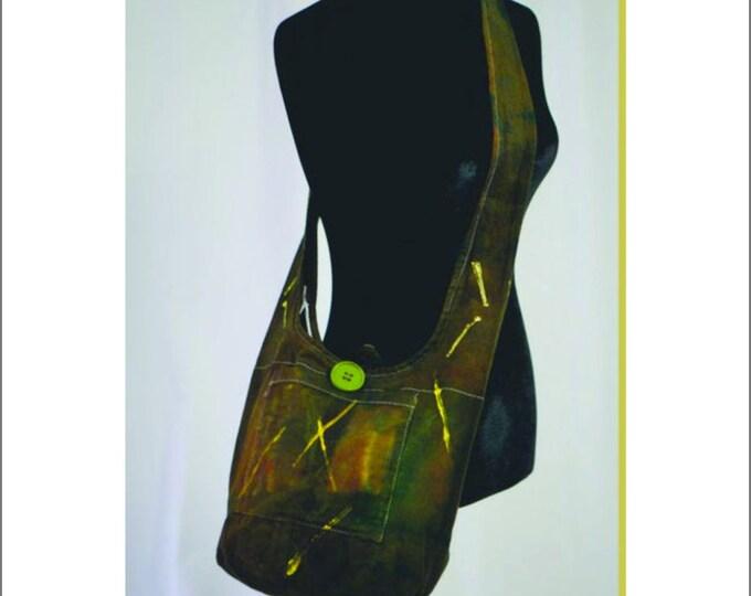 Hand Dyed Shibori Sling Bag Greens and Yellow Hippie Crossbody Shoulder Messenger