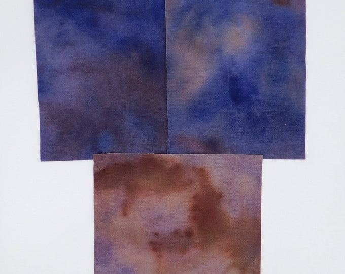Hand Dyed Felted Wool Fabric with Shadings of Brown and Blue  for Quilting, Rug Hooking, Crafting,