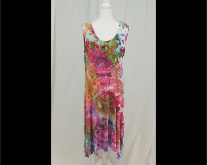 Womans Hand Dyed Multi Color sundress size XL, Pink Sleeveless Knit Shift Dress, Sleeveless Gatsby Dress, Tie Dye Boho Dress and Jacket