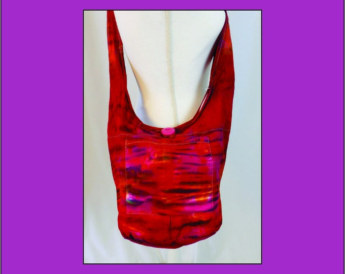 Hand Dyed Shibori Sling Bag Red Purple Hippie Crossbody Shoulder