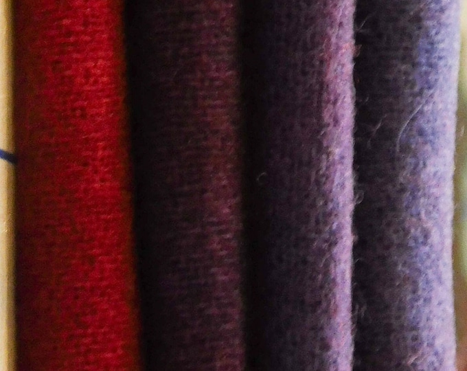 "Hand Dyed Red, Dark Purple and Blue Wool Fabric, (4) Pieces 14""x7"" or(4) Fat 1/6  for Rug Hooking, Quilting, Applique, Sewing"