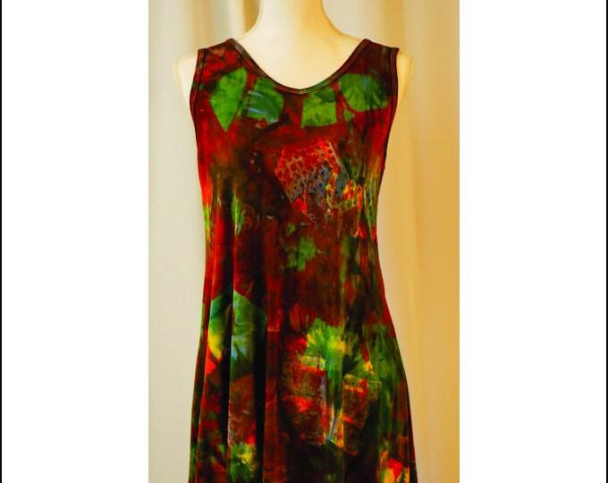 Itajime Shibori, Hand Dyed Sleeveless Tunic XL  Beautiful Greens , Red Blue and Yellow