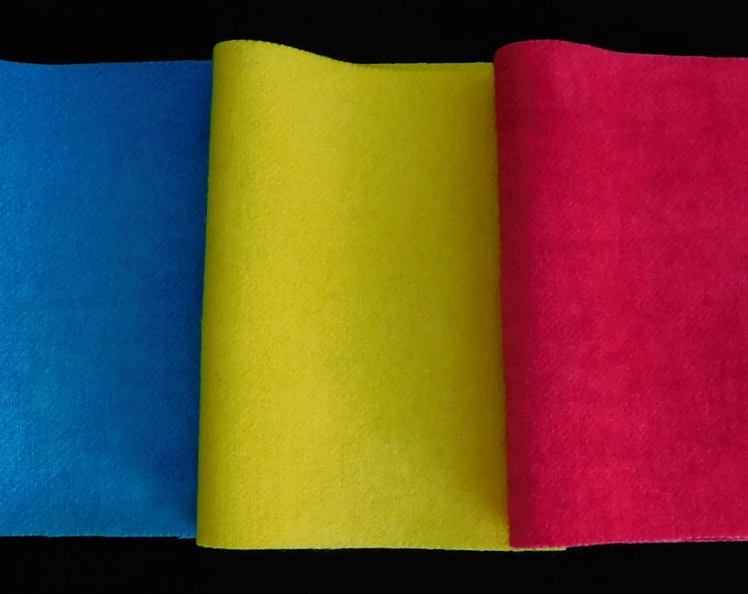 "Hand Dyed Yellow, Turquoise and Magenta Felted Wool Fabric, (3) Pieces 8""x5"" for Rug Hooking Quilting, Applique, Sewing, Penny Rugs"