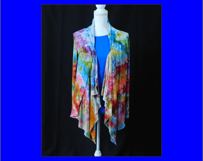 Hand Dyed Long Sleeve Cardigan Womans XL, Open Front Womans Pastel Ice Dye Jacket, Plus Size Boho Jacket, Festival Style Womans Jacket